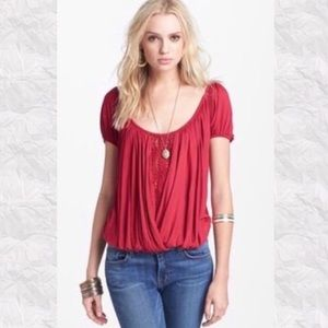 NWOT Free People Ann's Ruched Lace inset bubble to
